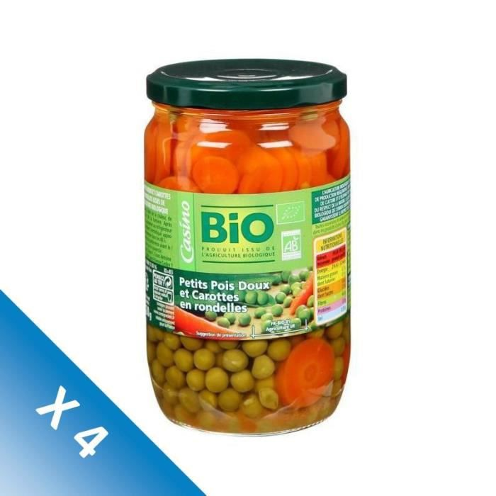 [LOT DE 4] Petits pois et carottes rondes bio - 660 g