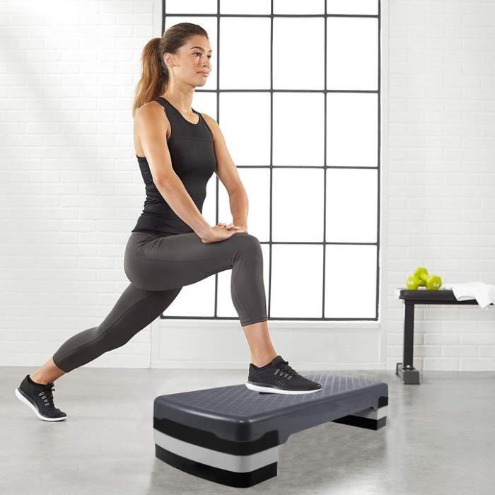 SPRINGOS® Aérobic Stepper, Réglable Stepper d'exercice, 3 niveaux de hauteur, antidérapant - Noir Graphite