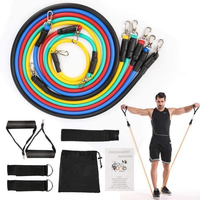 Set De 11 Accessoires Fitness Bandes de Resistance Elastiques Musculation Pour Fitness
