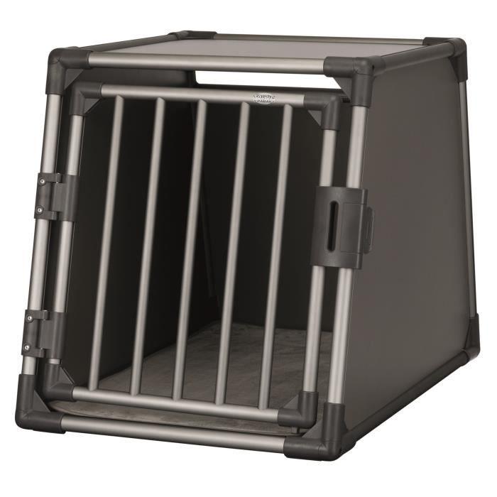 TRIXIE Box de transport - Aluminium - M et L : 61 x 65 x 86 cm - Gris graphite - Pour chien