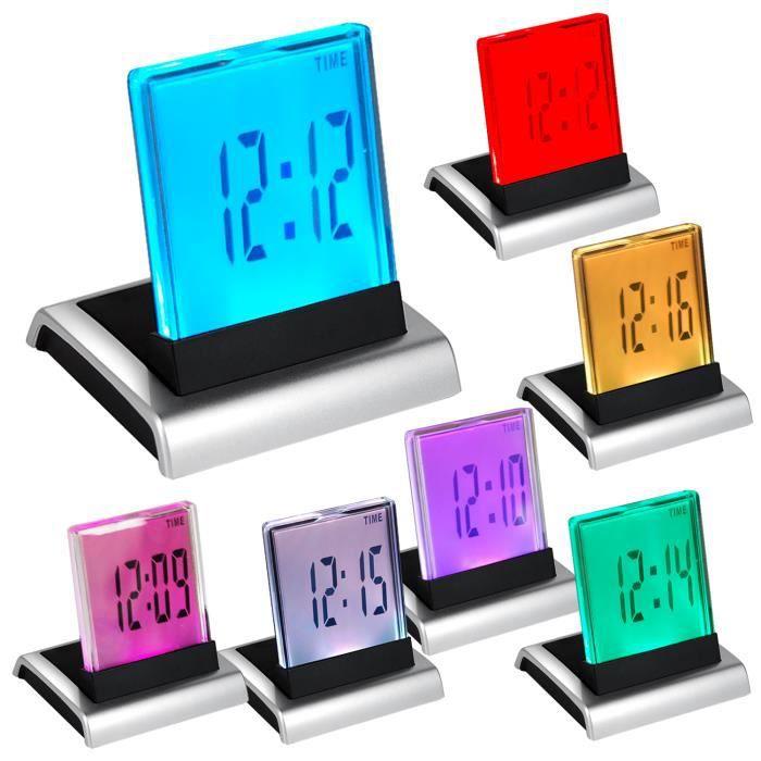 TRIXES RÉVEIL DIGITAL LCD LED 7 COULEURS AVEC THERMOMÈTRE