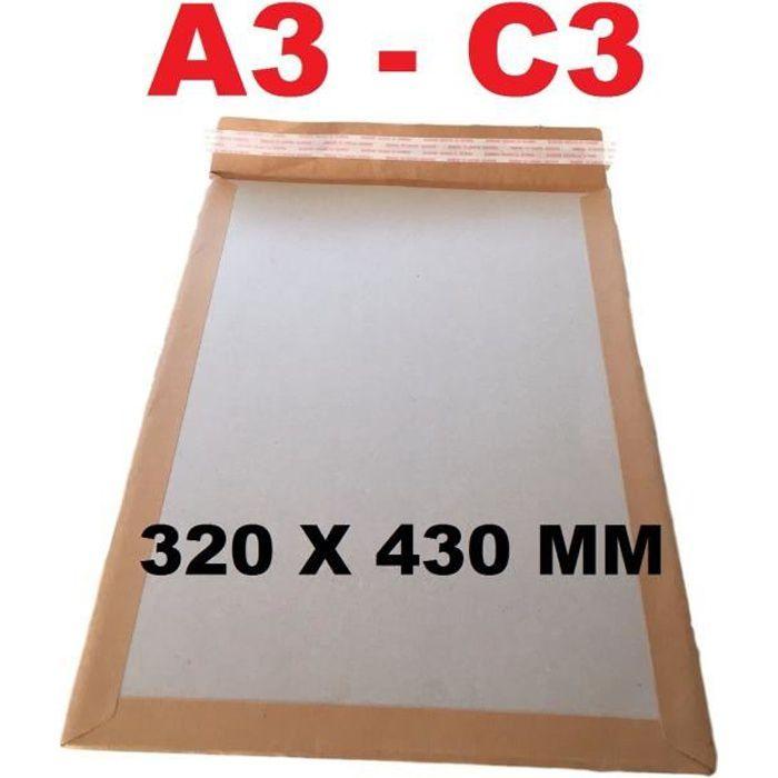 25 enveloppe DOS CARTON RIGIDE A3 C3 320 X 430 mm pochette MARRON avec poche sac rigide pour envoi sans plier enveloppe cartonnée au