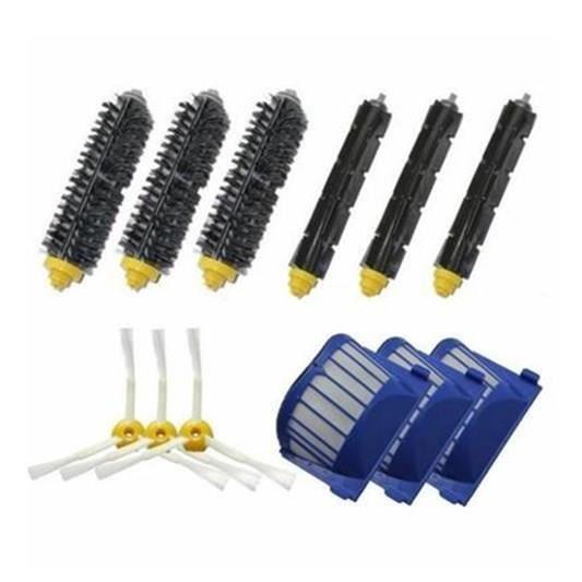 Kit De 3 paire de extracteur brosse +3 Garde Filtre + 3 Brosse Latérale Pour iRobot Roomba série 600(595 620 630 650 660)