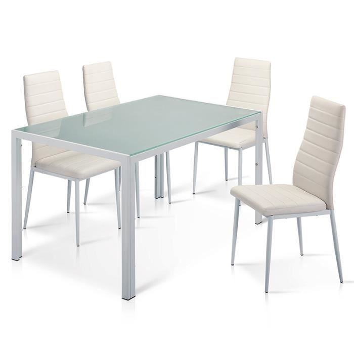 Table manger 4 chaises blanche matelass achat for Table a manger blanche