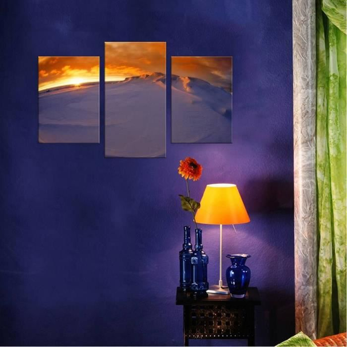 TABLEAU - TOILE Sunset In Antarctica Split 3 Panels IMPRIMER Sur C