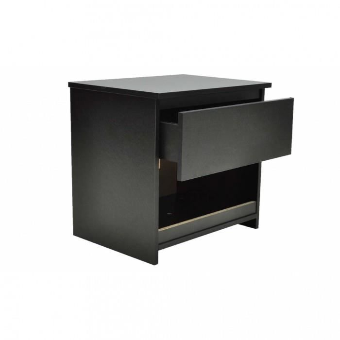 Chevets lot de 2 table de chevet noir achat vente chevet chevets lot de 2 table de cdiscount for Table de chevet noir