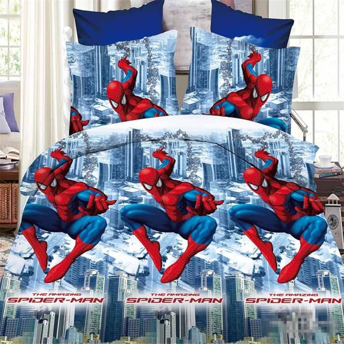 l m spiderman parure de couette parure de lit 1 housse de couette220x 240 cm 2 taie d 39 oreiller. Black Bedroom Furniture Sets. Home Design Ideas