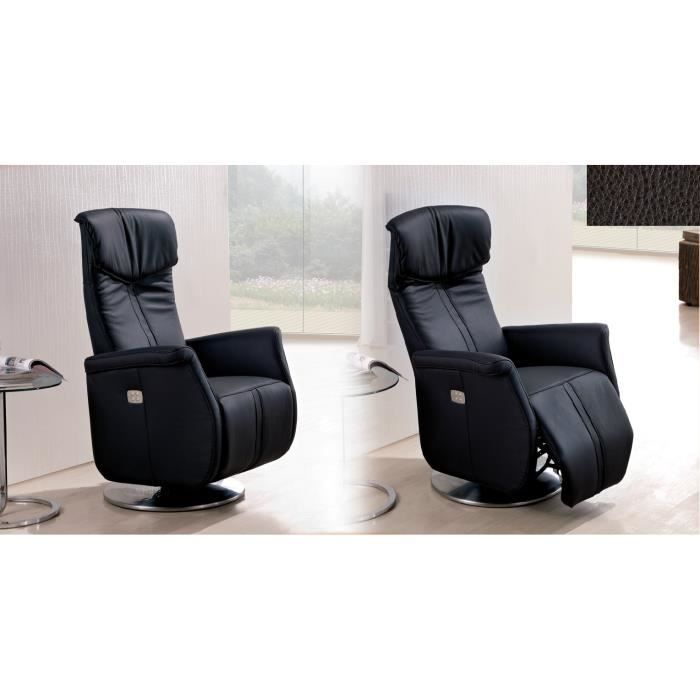 fauteuil relax sebring cuir noir achat vente fauteuil. Black Bedroom Furniture Sets. Home Design Ideas