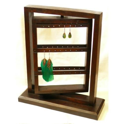presentoir boucles d 39 oreilles tourniquet bois bi achat vente pr sentoir bijoux presentoir. Black Bedroom Furniture Sets. Home Design Ideas