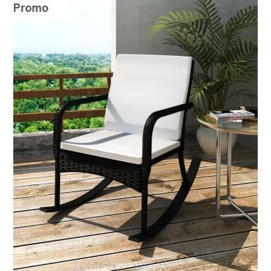 fauteuil bascule de jardin en r sine tress e noi achat vente chaise fauteuil jardin. Black Bedroom Furniture Sets. Home Design Ideas