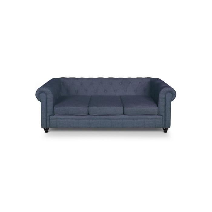 canap chesterfield 3 places lin bleu achat vente canap sofa divan cdiscount. Black Bedroom Furniture Sets. Home Design Ideas