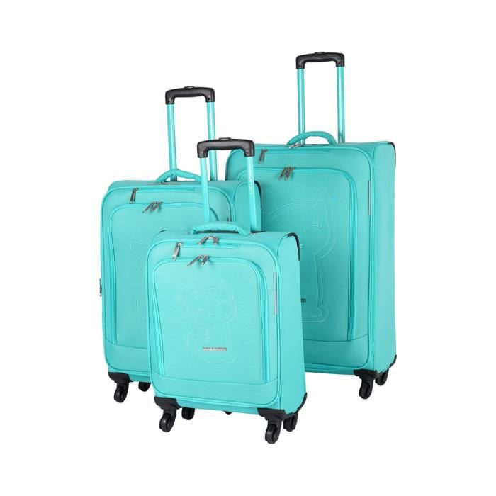 bagage lollipops lot de 3 valise souple tissu vert bleu achat vente set de valises. Black Bedroom Furniture Sets. Home Design Ideas