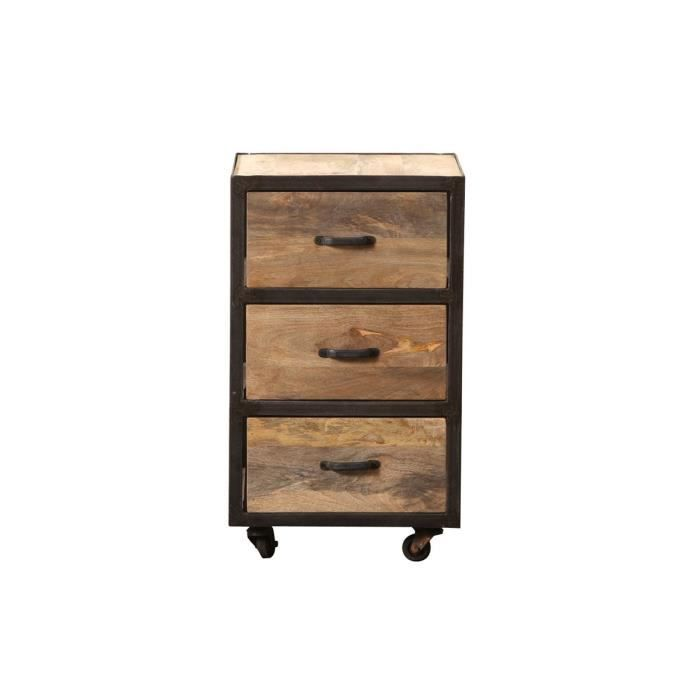 miliboo caisson bureau industriel bois massif achat vente caisson de bureau industria. Black Bedroom Furniture Sets. Home Design Ideas