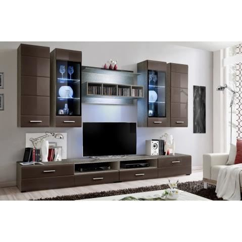 ensemble meuble tv mural laque marron a led lydia achat vente meuble tv ensemble meuble tv. Black Bedroom Furniture Sets. Home Design Ideas
