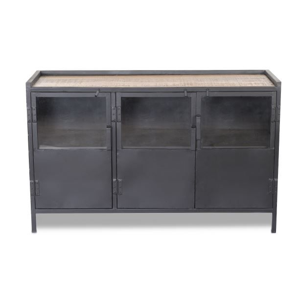 bahut 3 portes vitr es tripura bois m tal noir achat vente buffet bahut bahut 3 portes. Black Bedroom Furniture Sets. Home Design Ideas