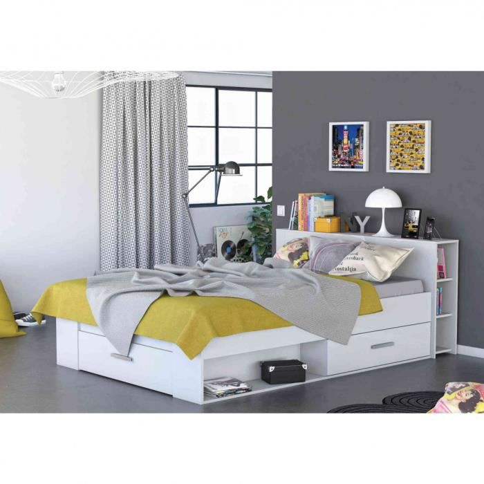 lit en bois avec tiroir 140x190 blanc perle achat vente structure de lit cdiscount. Black Bedroom Furniture Sets. Home Design Ideas