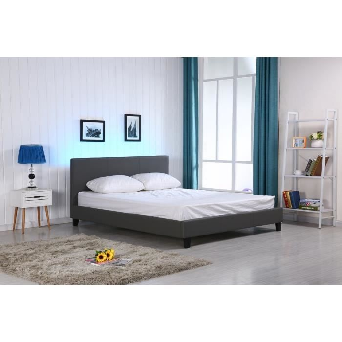 vegas lit led adulte gris 160x200cm sommier t te de. Black Bedroom Furniture Sets. Home Design Ideas