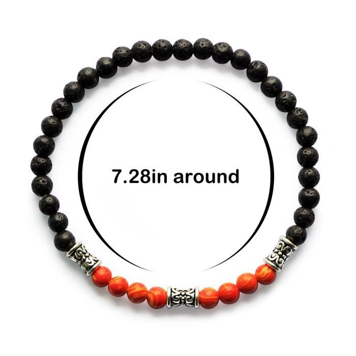 Womens Mhz Jewelry Lava Rock 7 Chakra Beads Healing Bracelet Yoga Mala Meditation Prayer 4mm Stret TRHUB