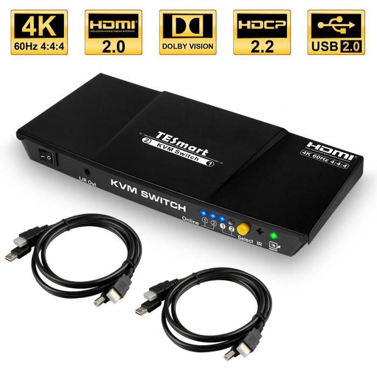 KVM SWITCH HDMI 2 PORTS Complet USB livré avec cordons et télécommande