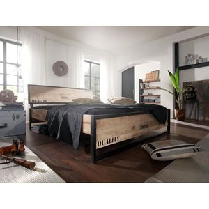lit style industriel achat vente pas cher. Black Bedroom Furniture Sets. Home Design Ideas
