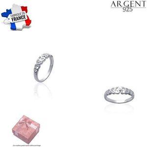 BAGUE - ANNEAU Bague Enfilade de Coeur Argent Massif 925 (4 Taill