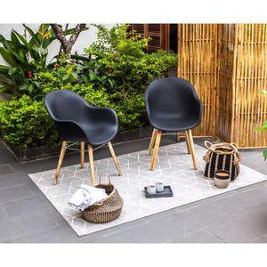 FAUTEUIL JARDIN  Lot de 2 fauteuils - Polypropylène et acacia - Noi