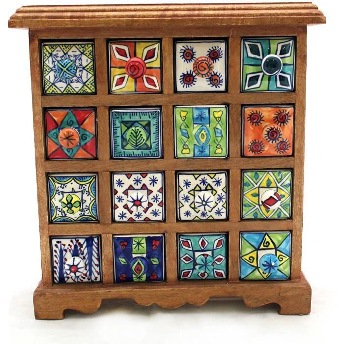 Gall Zick Commode Mini armoire en bois avec tiroir en céramique Multicolore 16 tiroirs Hauteur env. 33 cm[358]
