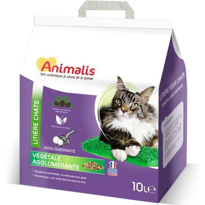 Animalis - Litière Végétale Agglomérante pour Chat - 10L