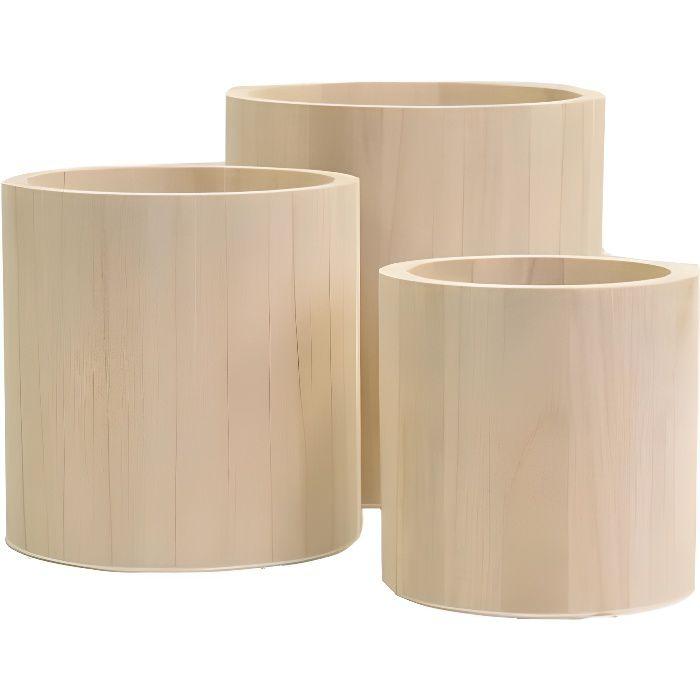 Set de 3 Pots Ronds - Cache Pot en Bois