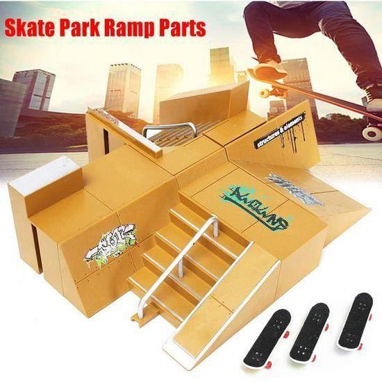 Skate Parc Rampe + 3PCS Finger Doigt Skateboard Planches à roulettes Jouet 92D