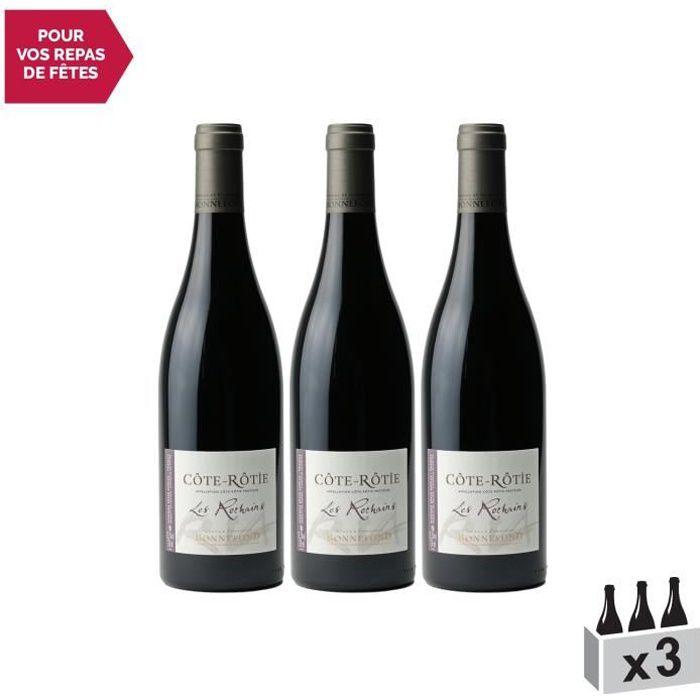 Côte Rôtie Les Rochains Rouge 2018 - Lot de 3x75cl - Domaine Patrick et Christophe Bonnefond - Vin AOC Rouge de la Vallée du Rhône