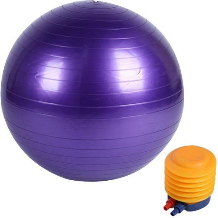 Boule de yoga lisse +pompe à air Boule d'exercice fitness gym de 55 cm violet