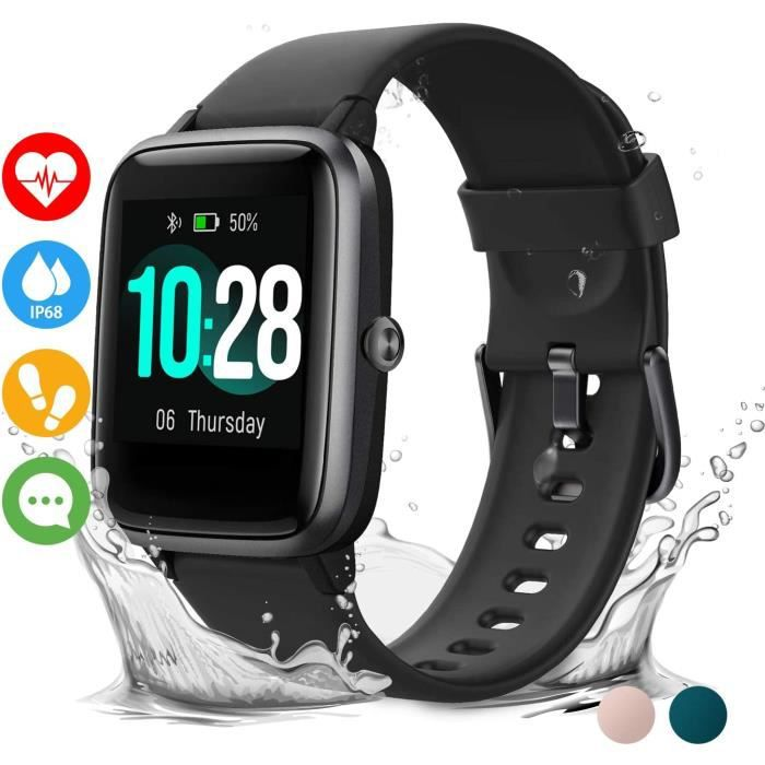 Vigorun Montre Connectée Smartwatch Homme Femme 10 Jours Autonomie Bracelet Connecté Etanche IP68 Podomètre Cardio Sommeil Fitness T