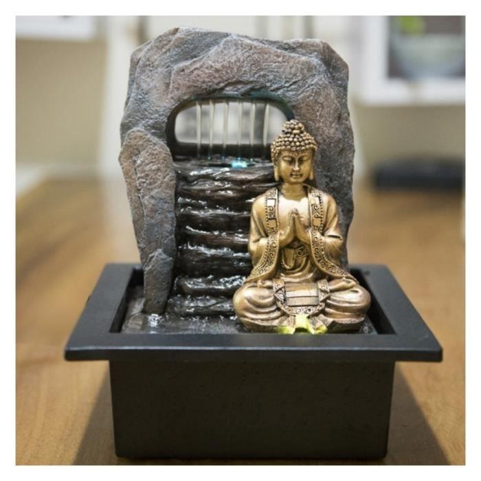 Fontaine décorative Bouddha Zen Dao 25cm à éclairage Led Noir