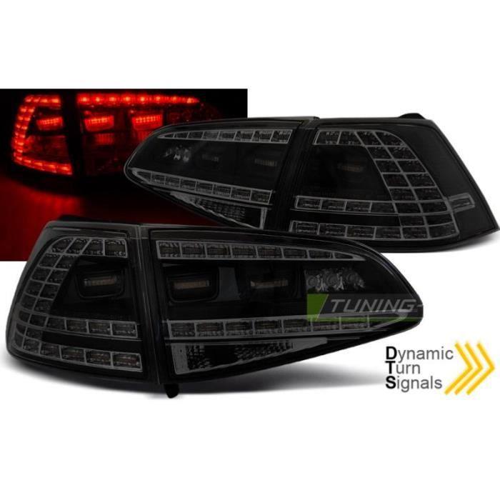 Paire de feux arriere VW Golf 7 13-17 LED Look GTI Noir Fume