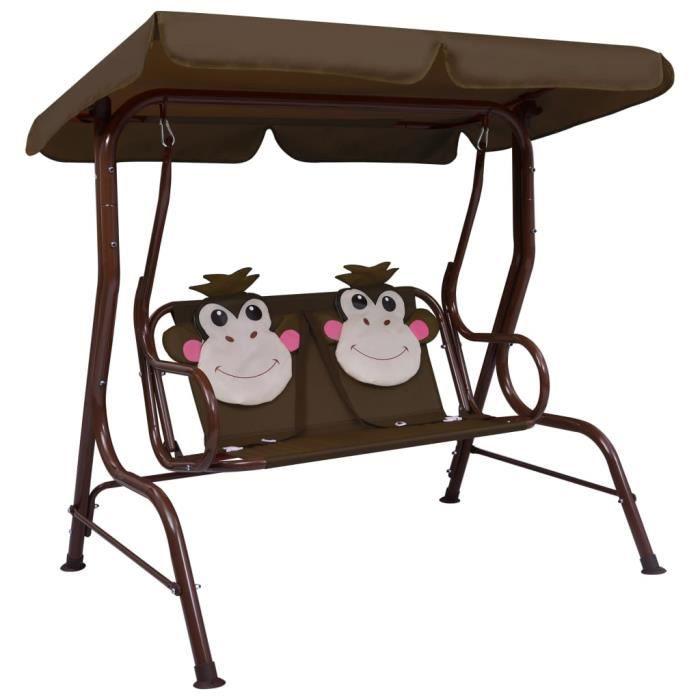 Balancelle de Jardin - Balancelle pour enfants Siège Fauteuil Relax Éxtérieur - Marron 115x75x110 cm Tissu Top♕3687