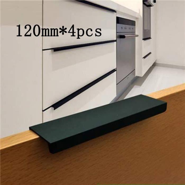 Poignée d'Armoire de Cuisine Poignées Meuble Tiroir, Placard en acier inoxydable Lot de 4 (Noir) (120mm)