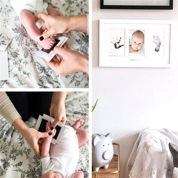 Kit Empreinte Bébé Cadre de Photo pour Souvenir la Naissance - Deux empreintes et cadre photo - Blanc H0F3D