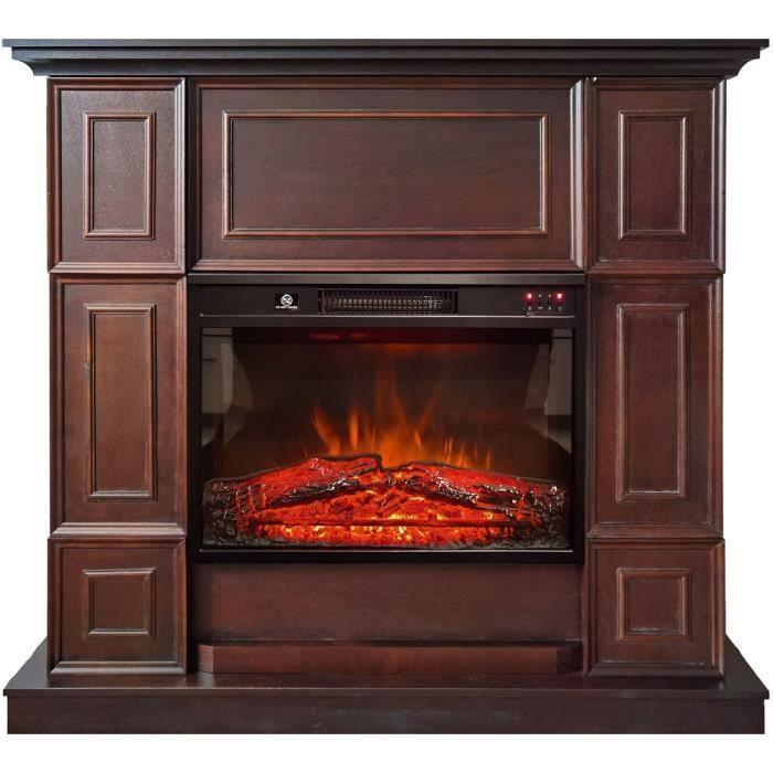 Cheminée électrique à effet de flammes Hanna brown marron ElectricSun L110xH102cm