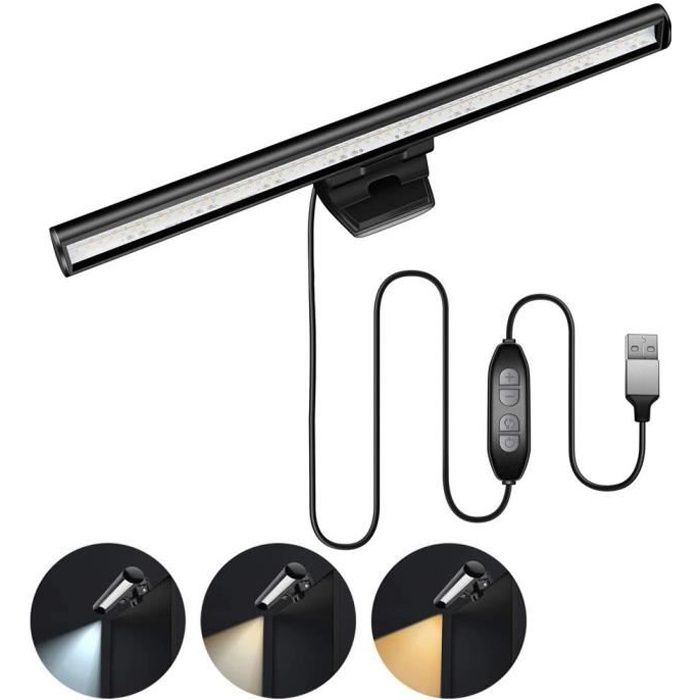 Lampe LED USB de bureau à intensité réglable, barre d'éclairage pour écran d'ordinateur portable, Protection des*PD1410