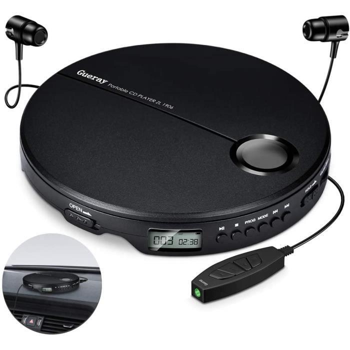 Gueray Lecteur CD Portable Walkman Hi-Res avec Casque et Contrôle en Ligne pour Casque 3,5 mm et Câble AUX pour Voiture Enfant