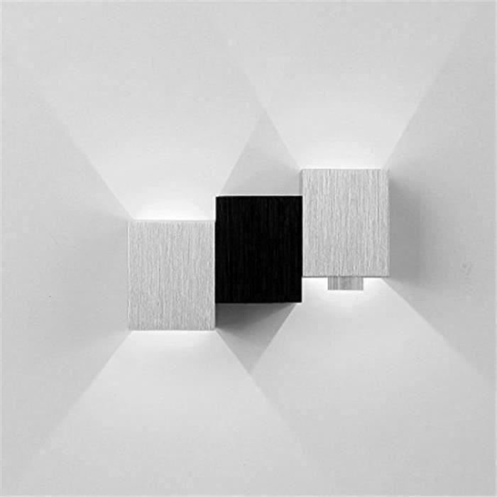 Applique Murale Intérieur LED Moderne Lampe Carrée 3W pour Chambre-Escalier-Sallon-Bureau-Porche-Passerelle (3 Cube,Blanc) OK65