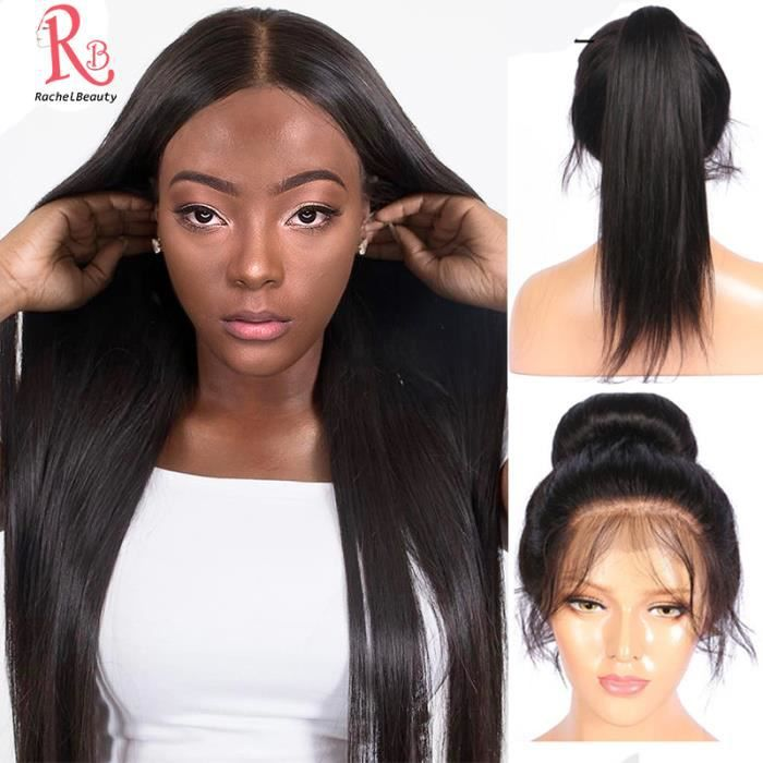 LUCKFEN 16- Perruque Bresilienne Cheveux Humains Naturels Lisse 360 Lace Wig