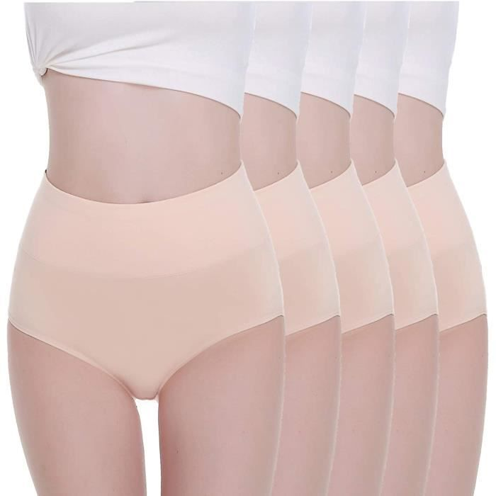 GAINE VENTRE PLAT W Culottes Femmes Lot de 5 Coton Taille Haute Slips Shorties Elasticiteacute Ventre Plat132