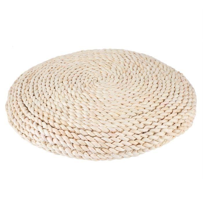 coussin de sol tissé Tapis de pouf de sol tissé à la main de tatami rond de style japonais pour le yoga de méditation