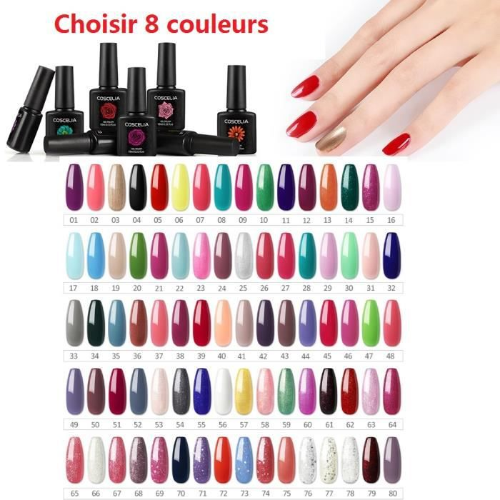 [Choisir 8 Couleurs] Lot De 8 Flacons de Vernis à Ongles 10 ml Couleurs Optionnel Vernis Semi-Permanent Nail Polish Manucure