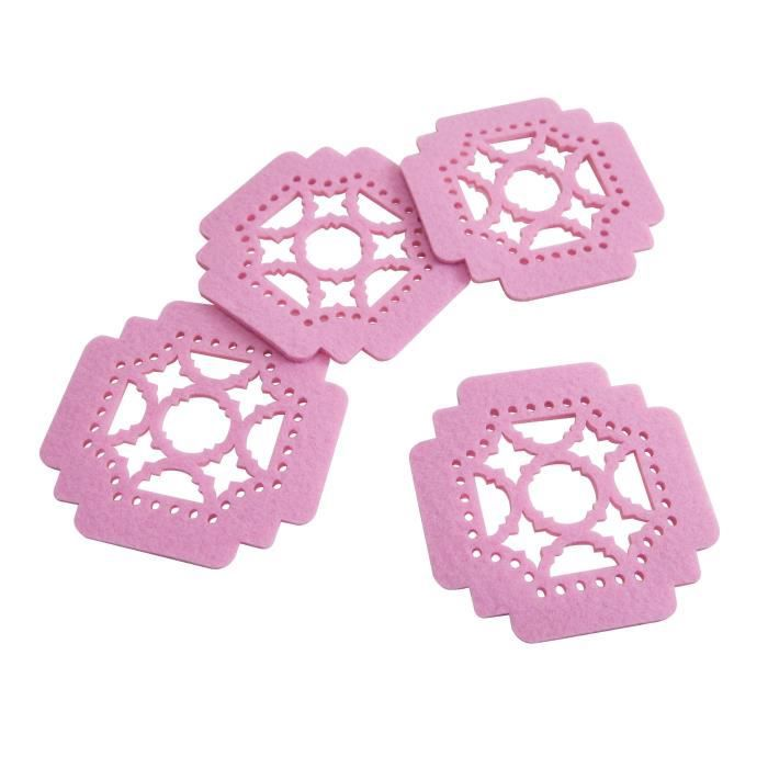 SP Lot de 4 sous-verres Dream - 10 cm - Rose feutre