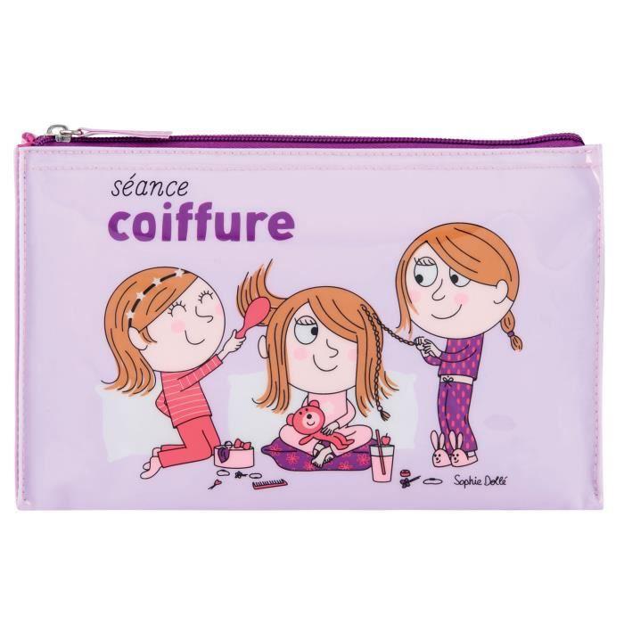 Trousse à Coiffure CLUB DES FILLES de Rangement pour Accessoires Cheveux Pince Brosse Barrette Enfant Fille DLP Derrière La Porte