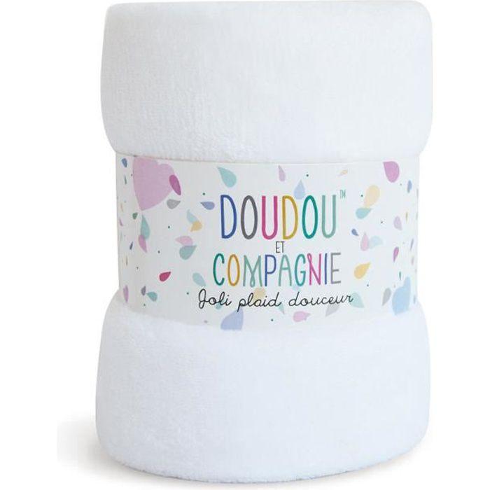 Plaid Douceur - DOUDOU et COMPAGNIE - 100x70cm - Vendu de façon aléatoire (Blanc, Rose ou Bleu)