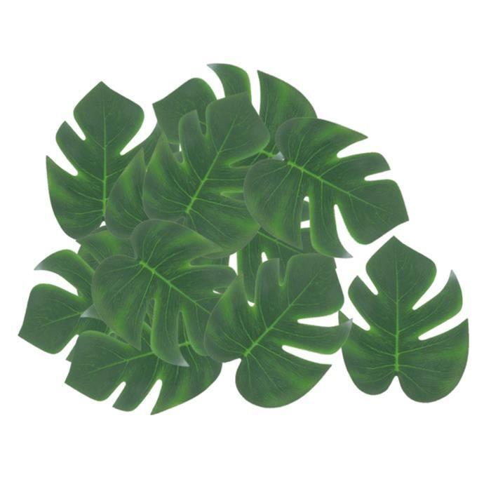 12x Feuilles De Palmier En oie Artificielle Plantes Vertes Tropicales Pour La Décoration De Fête D'Hawaï S